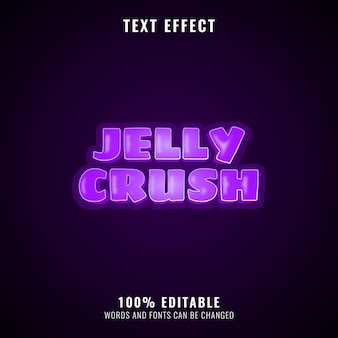 Effet De Texte Drôle D'écrasement De Gelée Violette, Parfait Pour Le Logo De Votre Jeu Vecteur Premium