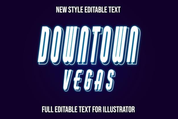 Effet de texte du centre-ville de vegas couleur dégradé blanc et bleu