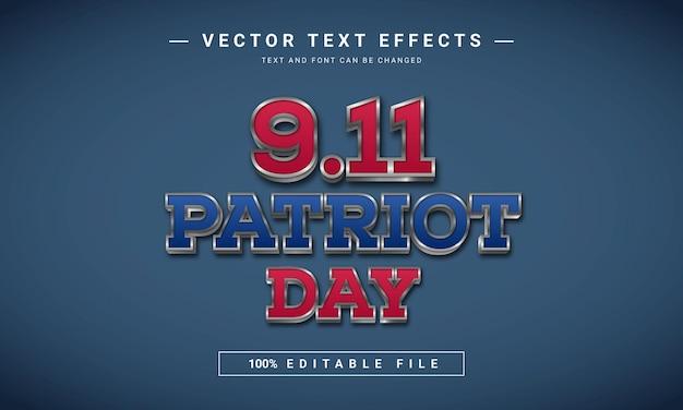 Effet de texte du jour du patriote des états-unis 911
