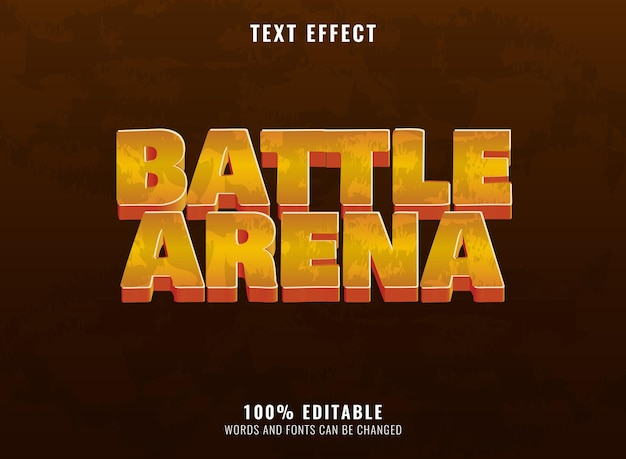 Effet de texte du logo du jeu rpg de l'arène de bataille dorée fantastique