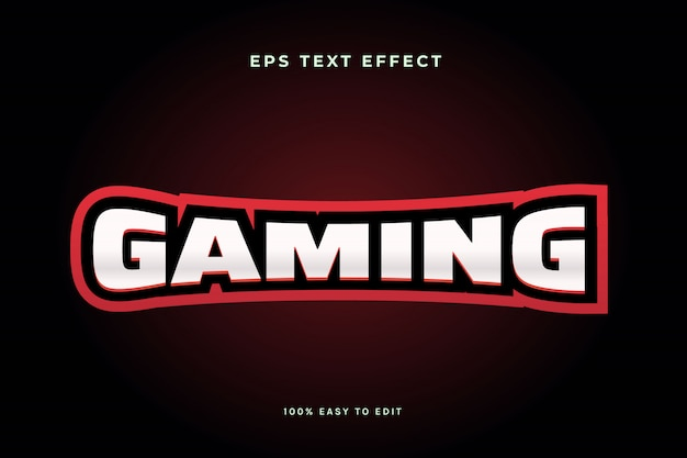 Effet de texte du logo esport de jeu rouge