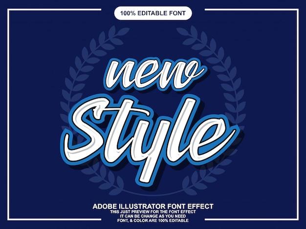 Effet de texte éditable de script de nouveaux styles
