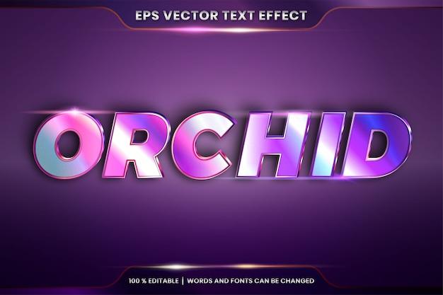 Effet de texte effet modifiable en métal argenté réaliste combinaison de couleurs or et violet avec concept de lumière flare