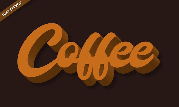 Effet de texte ou effet de police script coffee 3d