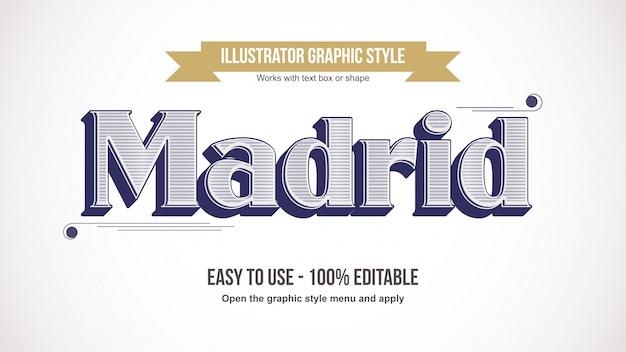 Effet de texte élégant vintage line patter serif