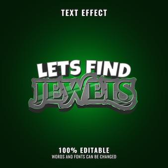 Effet de texte émeraude diamant pierre parfait pour le logo du titre du jeu