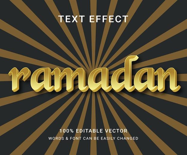 Effet de texte entièrement éditable du ramadan