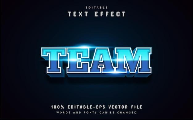 Effet de texte de l'équipe bleue