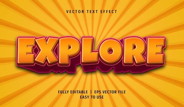 Effet de texte d'exploration 3d, style de texte modifiable