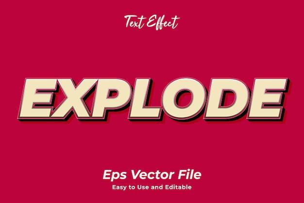 Effet de texte exploser vecteur premium modifiable et facile à utiliser