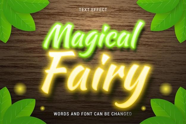 Effet de texte de fée magique avec des feuilles isolées sur fond de bois modifiable eps cc