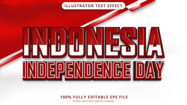 Effet de texte de la fête de l'indépendance indonésienne modifiable