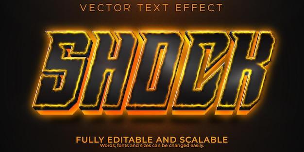 Effet de texte de feu de choc, style de texte électrique et énergétique modifiable