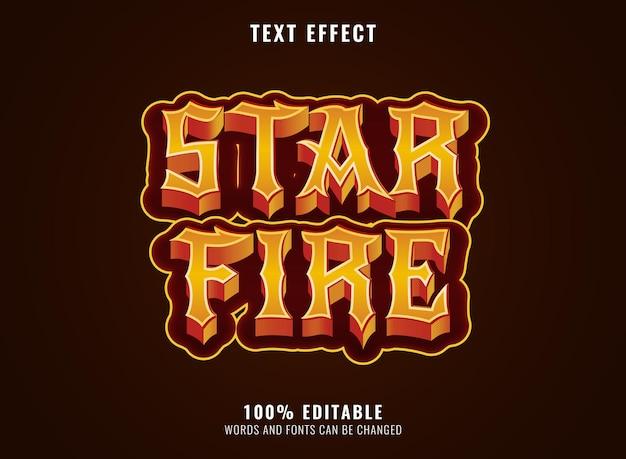 Effet de texte de feu d'étoile de titre de logo de jeu de rpg d'or de fantaisie