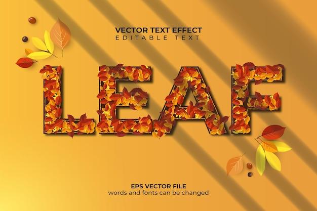 Effet de texte de feuilles d'automne avec motif de feuilles