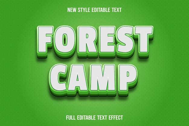 Effet de texte forêt camp couleur dégradé blanc et vert