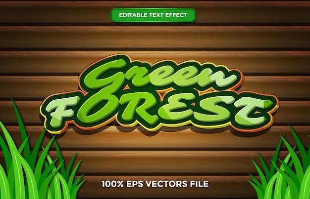 Effet de texte de la forêt verte, style de texte modifiable de dessin animé et de forêt vecteur premium