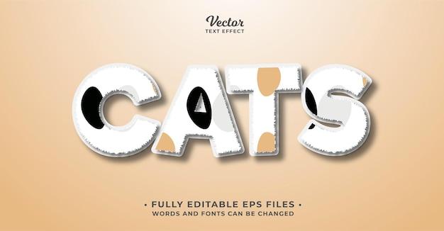 Effet de texte de fourrure de chat modifiable eps cc les mots et les polices peuvent être modifiés
