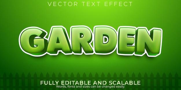 Effet de texte frais de jardin, style de texte vert et organique modifiable
