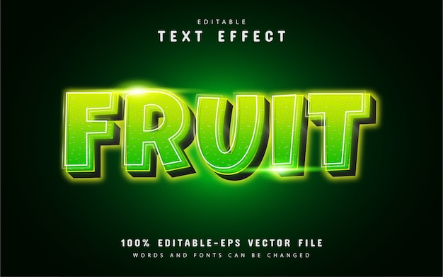 Effet de texte de fruits avec dégradé vert