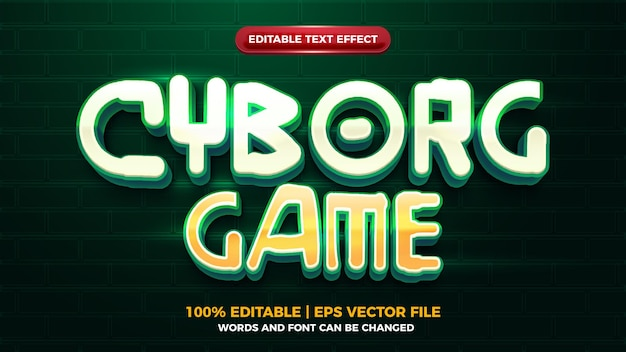 Effet de texte futuriste 3d editbale de jeu de cyborg