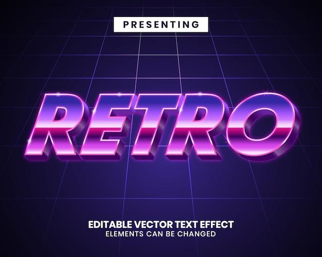 Effet de texte futuriste en métal 3d retrowave