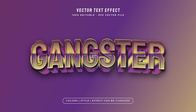 Effet de texte de gangster coloré 3d avec texture plastique
