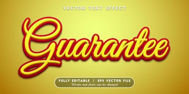 Effet de texte de garantie, style de texte modifiable