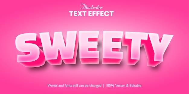Effet de texte girly de couleur rose sweety