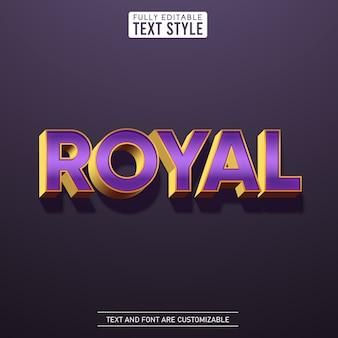 Effet de texte glamour violet métallisé or royal avec collection de polices lettre alphabet ombre