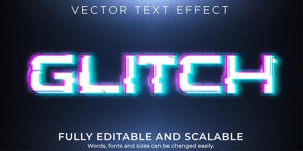 Effet de texte glitch, signal modifiable et style de texte d'erreur