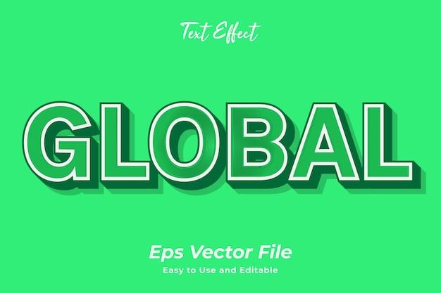Effet de texte global modifiable et facile à utiliser vecteur premium