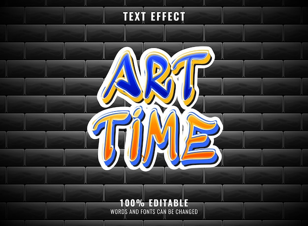 Effet de texte graffiti grunge modifiable par temps d'art