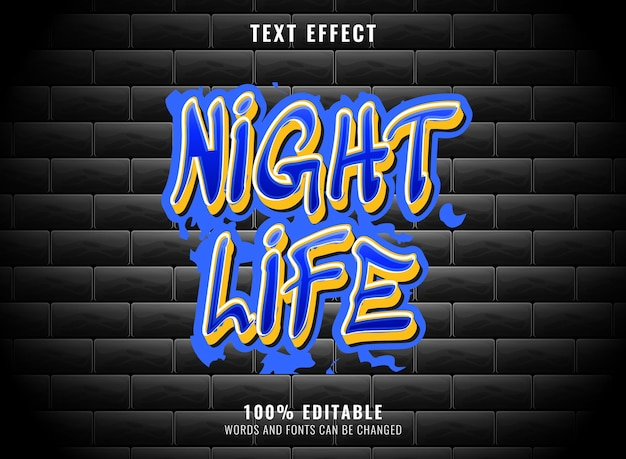 Effet de texte graffiti modifiable bleu et jaune de la vie nocturne