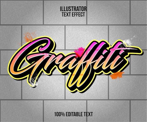 Effet de texte graffiti et motif de mur de blocs
