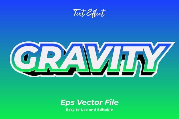 Effet de texte gravité modifiable et facile à utiliser vecteur premium
