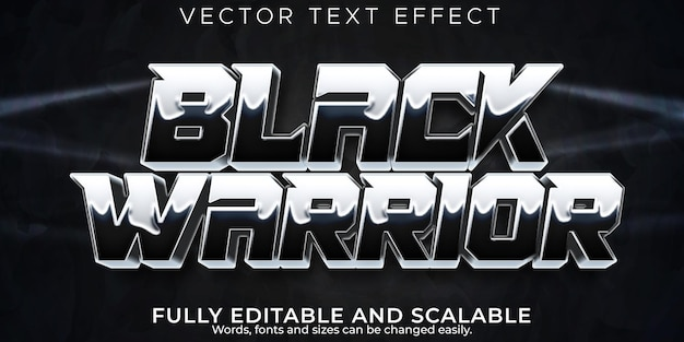 Effet de texte guerrier, style de texte noir et blanc modifiable