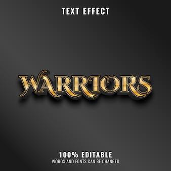 Effet de texte de guerriers modernes de luxe doré fantastique