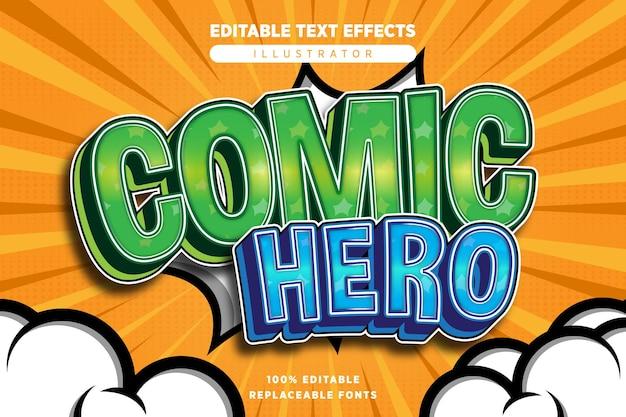 Effet de texte de héros comique modifiable dans le style comique
