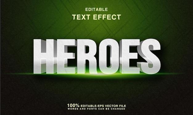 Effet de texte de héros dramatiques style de texte de héros verts 3d