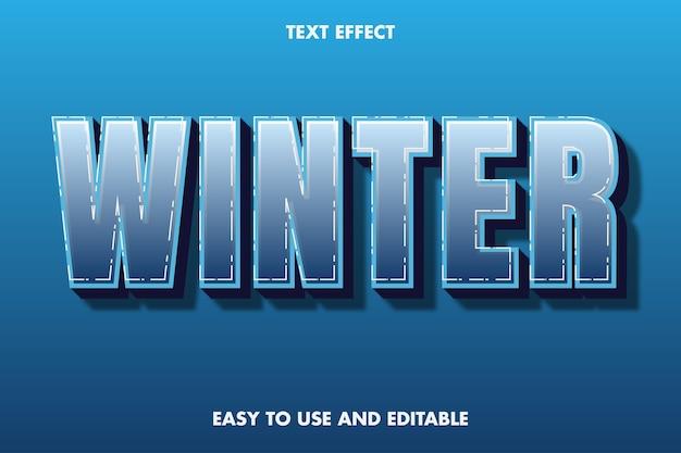 Effet de texte d'hiver. style de police modifiable.