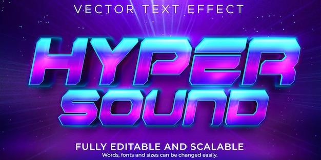 Effet de texte hyper sonore style de texte rétro et vintage modifiable