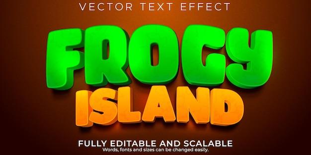 Effet de texte de l'île de grenouille de dessin animé, style de texte modifiable comique et drôle