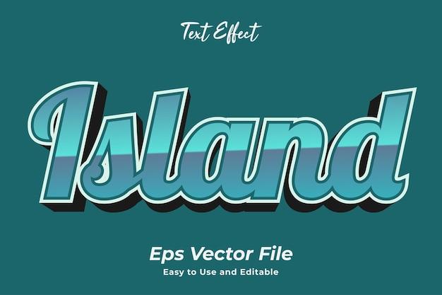 Effet de texte île simple à utiliser et à modifier vecteur de haute qualité