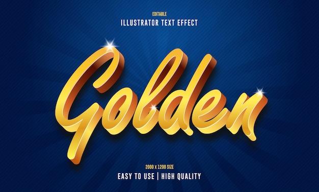 Effet de texte d'illustrateur 3d doré modifiable