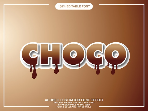 Effet de texte illustrateur éditable chocolat moderne gras