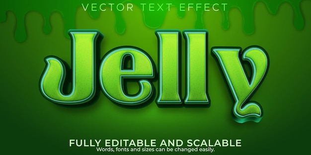 Effet de texte jelly gum, style de texte modifiable en vert et en gélatine