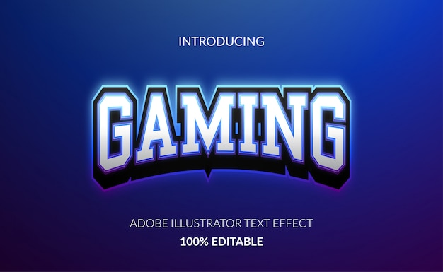 Effet de texte de jeu élégant pour le logo e-sport avec une couleur de contour bleu brillant et une couleur métallique.