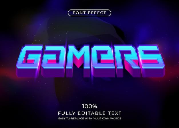 Effet de texte de joueurs futuristes 3d. style de police modifiable