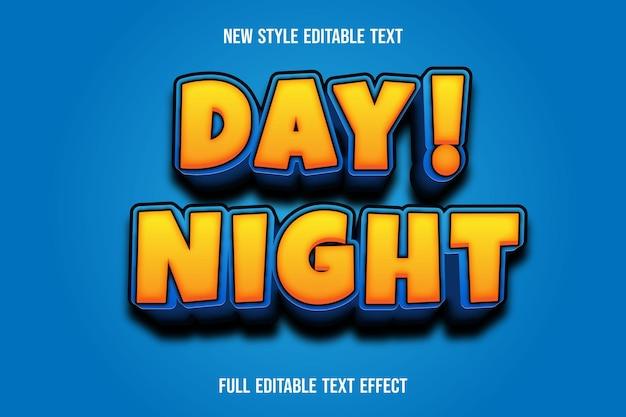 Effet de texte jour 3d! couleur de nuit dégradé jaune et bleu